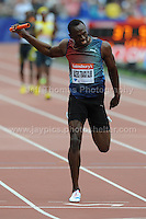 Usain Bolt of Jamaica crosses the finishing line first for his 4x100m Mens Relay team at the Sainsbury Anniversary Games, Olympic Stadium, London England, Saturday 27th July 2013-Copyright owned by Jeff Thomas Photography-www.jaypics.photoshelter.com-07837 386244. No pictures must be copied or downloaded without the authorisation of the copyright owner.
