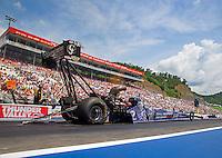 Jun 21, 2015; Bristol, TN, USA; NHRA top fuel driver Larry Dixon during the Thunder Valley Nationals at Bristol Dragway. Mandatory Credit: Mark J. Rebilas-USA TODAY Sports