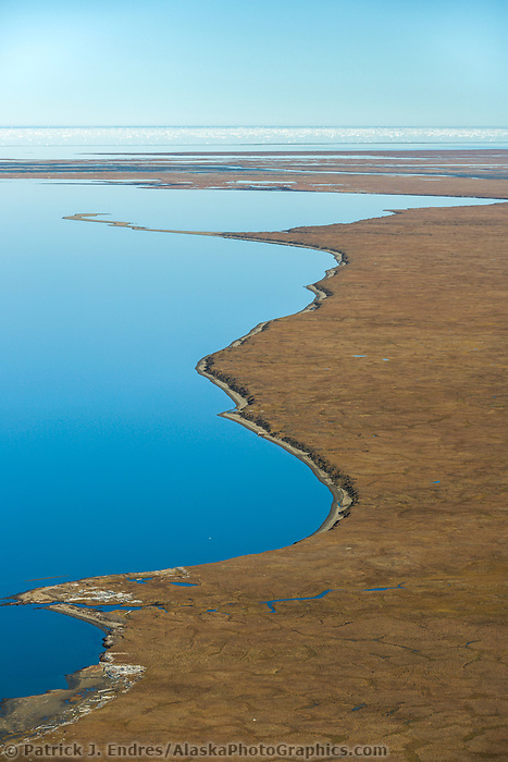 Beaufort Sea meets the coast of the Arctic National Wildlife Refuge coastal plains in Alaska's Arctic.