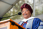 Ellen Johnson Sirleaf, President, Republic of Liberia, delivers remarks on Healy Lawn at during Commencement.