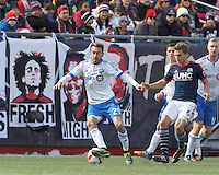 Foxborough, Massachusetts - March 21, 2015: In a Major League Soccer (MLS) match, the New England Revolution (dark blue/white) tied Montreal Impact (white/light blue), 0-0, at Gillette Stadium.