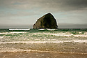 OR01228-00...OREGON - Haystack Rock off the coast at Cape Kiwanda State Park.