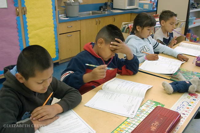 Oakland CA 2nd graders being tested in class using STAR test (California Standard Testing and Reporting) MR