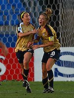 Kristie Mewis and Vicki DiMartino (USA) celebrate a goal..FIFA U17 Women's World Cup, Semi Final, Germany v USA, QEII Stadium, Christchurch, New Zealand, Thursday 13 November 2008. Photo: Renee McKay/PHOTOSPORT