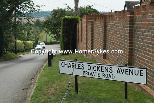 Higham Kent. UK. Charles Dickens Avenue, private estate road. Charles Dickens lived in Gads Place House in the village.