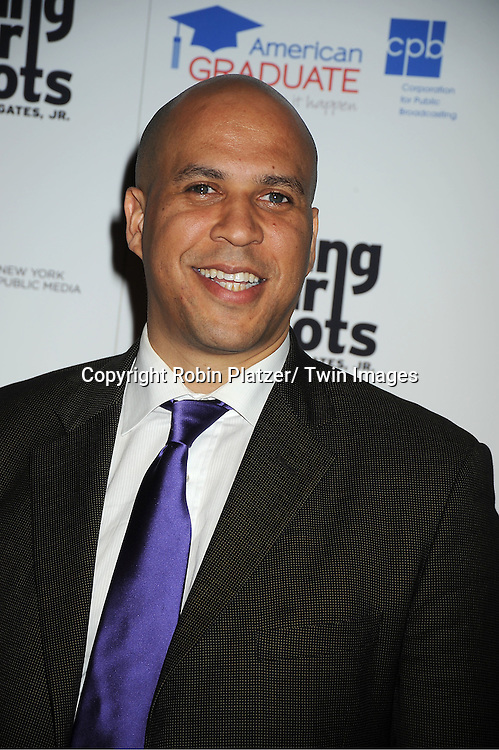 "Mayor Cory Booker attends the PBS""s Finding Your Roots with Henry Louis Gates, Jr  Premiere screening   at The Allen Room at Frederick P Rose Hall in New York City on March 19, 2012."