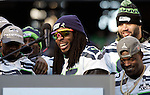 Seattle Seahawks corner back Richard Sherman talks to fans during the Super Bowl XLVIII celebration at  CenturyLink Field on February 5, 2014 in Seattle. ©2014. Jim Bryant Photo. ALL RIGHTS RESERVED.
