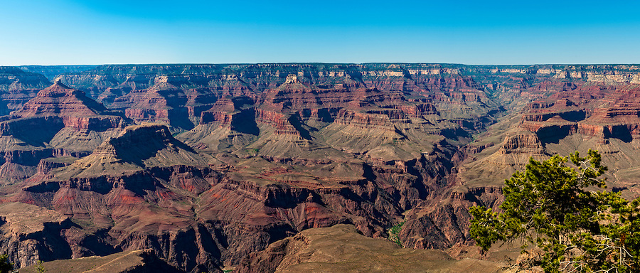 Panoramic view of South Rim in Grand Canyon, National Park. This is a 34 MP image composed of more than 7 individual shots. The Grand Canyon is a steep-sided gorge carved by the Colorado River in the United States in the state of Arizona. This is  one of the first national parks in the United States