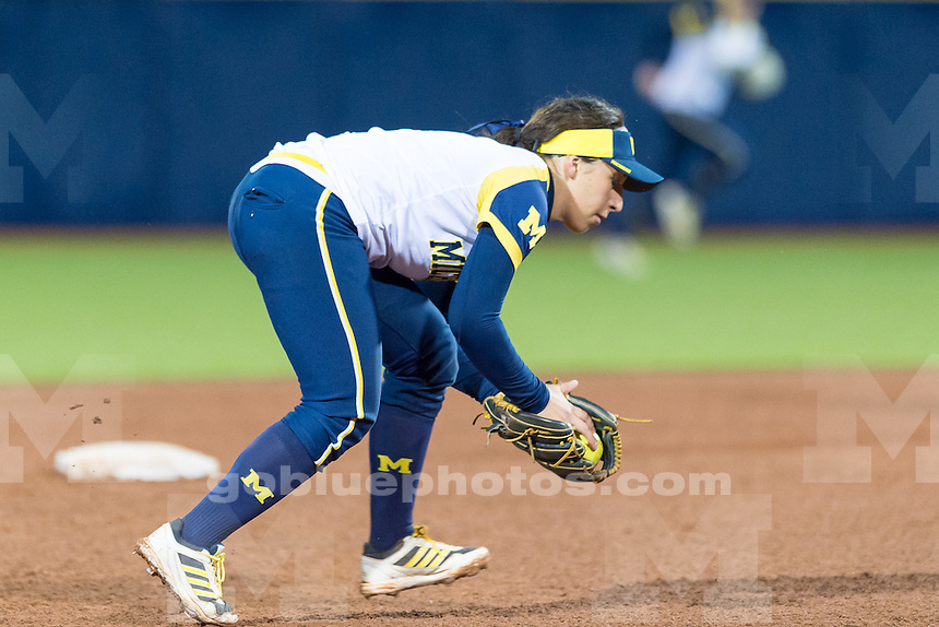 The University of Michigan softball team; 4-3,victory over MSU at the Wilpon Softball Complex in Ann Arbor, Mich. on April 22, 2015.