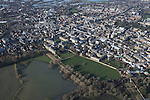 The  Thames, Oxford in  flood . <br /> View of Oxford, looking  North West  with  Portmeadow to the top , a natural flood plain. <br /> The controversial University buildings  of Roger Dudman Way  can  be seen ( centre top   )  along railway lines on the southern edge of Portmeadow<br /> Christchurch meadow and the flooded Thames to the bottom of the image.