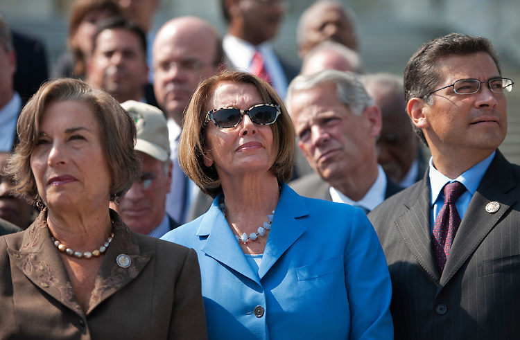UNITED STATES - SEPTEMBER 14:  From left, Rep. Jan Schakowsky, D-Ill., House Minority Leader Nancy Pelosi, D-Calif., and House Democratic Conference Vice Chair Xavier Becerra, D-Calif., attend a rally on the House Steps with House Democrats to call on Republicans to take action on the American Jobs Act.  (Photo By Tom Williams/Roll Call)