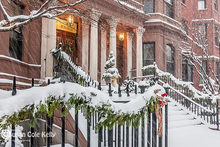Christmas snowstorm in the Back Bay neighborhood, Boston, MA