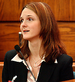 Manassas, VA - March 9, 2004 -- Katrina Hannum, daughter of sniper victim Linda Franklin, delivers victim impact testimoney prior to the sentencing of John Allen Muhammad in the death of Dean Meyers at the Prince William County (Virginia) Circuit Court in Manassas, Virginia on March 9, 2004. Prince William County (Virginia) Circuit Court Judge Leroy Millette upheld the jury's two death sentences for Muhammad..Credit: Steve Helber - Pool via CNP