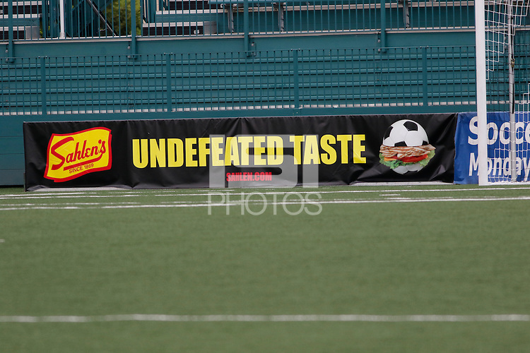 Rochester, NY - Saturday May 21, 2016: A Sahlen's ad board. The Western New York Flash defeated Sky Blue FC 5-2 during a regular season National Women's Soccer League (NWSL) match at Sahlen's Stadium.