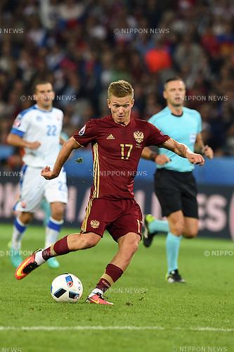 Oleg Shatov (Russia) ; <br /> June 15, 2016 - Football : Uefa Euro France 2016, Group B, Russia 1-2 Slovakia at Stade Pierre Mauroy, Lille Metropole, France. (Photo by aicfoto/AFLO)