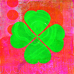 Abstract illustration of a four leaf clover aka Shamrock with a spiral path. Follow a lucky path!