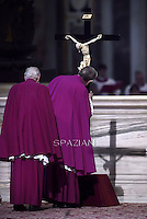 Pope Francis the ceremony of the Good Friday Passion of the Lord Mass in Saint Peter's Basilica at the Vatican.4 April 2015