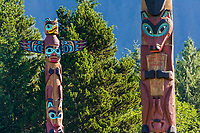 Saxman Village holds the largest collection of totem poles in the world, Ketchikan, Alaska.