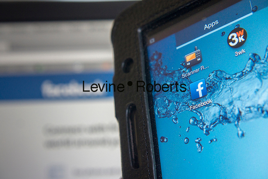 The Android app of the popular Facebook social networking site is seen on a Samsung tablet on Friday, July 26, 2013. (© Richard B. Levine)