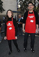 Los Angeles, CA - NOVEMBER 23: Emmy Rossum, Sam Esmail, At Los Angeles Mission Thanksgiving Meal For The Homeless At Los Angeles Mission, California on November 23, 2016. Credit: Faye Sadou/MediaPunch