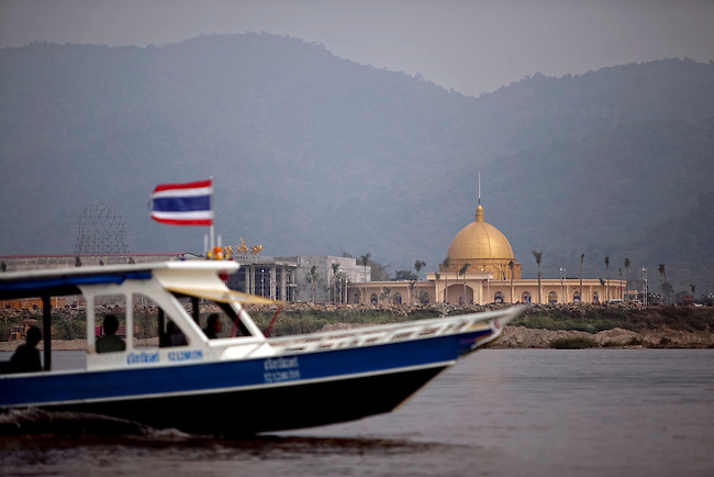 A new casino, which is partially open, is being constructed on the Laos side of the the Mekong River opposite of Sop Ruak, Thailand. The land was rented from the government and displaced a Laos village. Photo taken on Thursday, December 10, 2009. Kevin German / Luceo Images