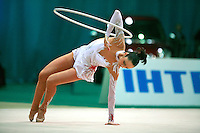 """Anna Bessonova of Ukraine begins hoop routine at 2008 World Cup Kiev, """"Deriugina Cup"""" in Kiev, Ukraine on March 23, 2008."""