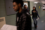 Peer leader Elvira Quintero, 17, far right, walks to Physics class with Derick Estrella, 17, center, and Eric Hamilton, 16, foreground, at Central Park East High School in New York, NY on November 15, 2012. Beyond sheer physical safety, a look at how schools and sitricts can create classroom conditions in which students are able to engage enthusiastically and without emotional fear of stepping forward. Photographer: Melanie Burford/Prime