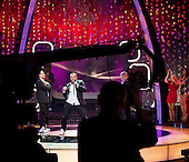 WARSAW, POLAND, JANUARY 2013:<br /> Performers of WEEKEND, a disco polo band, during recording of a &quot;What's that melody&quot; programme at the Polish TV. Disco polo is a type of dance music which originated in rural areas of Poland. Though considered tacky by many people, it is becoming incredibly popular.<br /> (Photo by Piotr Malecki / Napo Images)<br /> <br /> Warszawa, styczen 2013:<br /> Zespol disco polo WEEKEND w studio TVP podczas nagrywania programu Jaka To Melodia.<br /> Fot: Piotr Malecki / Napo Images