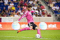 Houston Dynamo goalkeeper Tally Hall (1). The New York Red Bulls defeated the Houston Dynamo 2-0 during a Major League Soccer (MLS) match at Red Bull Arena in Harrison, NJ, on August 10, 2012.