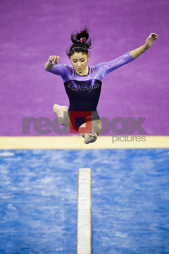 Hatsune Akaogi..----Washington Huskies gymnastics tri-meet vs Louisiana State University and Seattle Pacific University at Alaska Airlines Arena at Hec Edmundson Pavilion in Seattle on Friday, February 17, 2012. (Photo by Dan DeLong/Red Box Pictures)