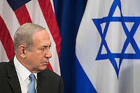 Prime Minister of Israel Benjamin Netanyahu looks on as he meets with United States President Barack Obama during a bilateral meeting at the Lotte New York Palace Hotel, September 21, 2016 in New York City. Last week, Israel and the United States agreed to a $38 billion, 10-year aid package for Israel. Obama is expected to discuss the need for a &quot;two-state solution&quot; for the Israeli-Palestinian conflict. <br /> Credit: Drew Angerer / Pool via CNP /MediaPunch