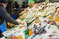 Shopkeeper selling fresh fish Bonito seafood calamari at fishmonger in food market Kadikoy district Asian Istanbul, East Turkey