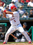 28 February 2007: St. Louis Cardinals first baseman Albert Pujols at bat during a pre-season, Grapefruit League game against the Florida Marlins on Opening Day for Spring Training at Roger Dean Stadium in Jupiter, Florida. The Cardinals and Marlins share Roger Dean Stadium and the training facilities which opened in 1998 as a co-development between the Cardinals and the Montreal Expos.<br /> <br /> Mandatory Photo Credit: Ed Wolfstein Photo