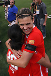 27 August 2011: Western New York's Marta (BRA) (10) and Christine Sinclair (CAN) (right) hug during the postgame celebration. Western New York Flash defeated the Philadelphia Independence 5-4 on penalty kicks to win the final after the game ended in a 1-1 tie after overtime at Sahlen's Stadium in Rochester, New York in the Women's Professional Soccer championship game.