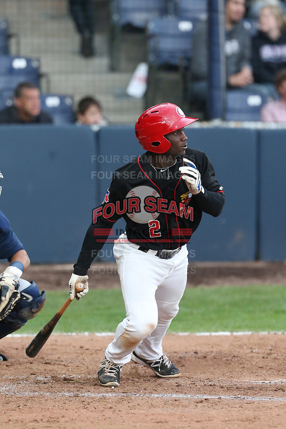 Roemon Fields #2 of the Vancouver Canadians bats against the Hillsboro Hops at Nat Bailey Stadium on July 24, 2014 in Vancouver, British Columbia. Vancouver defeated Hillsboro, 5-2. (Larry Goren/Four Seam Images)