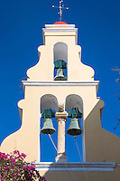 ARIPaleokastritsa Monastery, 13th Century with bells in belltower portico and bougainvillea in Corfu, , Greece