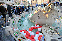 Rome, Italy, February 19, 2015.Rubbish and broken bottles float into the Barcaccia (Sunken Boat) fountain at Rome's Spanish Steps after a clash between Police and fans of the Dutch team Feyenoord, ahead of an Europa League football match with local team AS Roma.