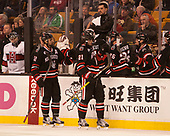 Zach Aston-Reese (NU - 12), Nolan Stevens (NU - 21) - The Harvard University Crimson defeated the Northeastern University Huskies 4-3 in the opening game of the 2017 Beanpot on Monday, February 6, 2017, at TD Garden in Boston, Massachusetts.