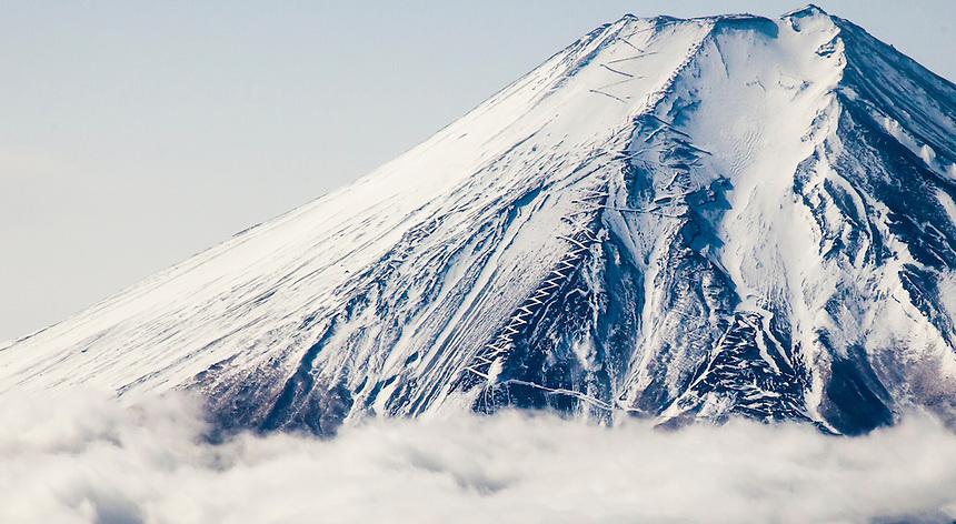 Fuji san climbing paths in snow.