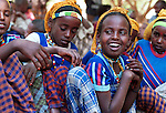 Girls under the age of 9 that haven't been circumcised in a project on April 8, 2001 in Erer Valley, in eastern Ethiopia. KarlHeinz Bohm and his organisation Menschen for Menschen has started a successful project teaching the villagers that the procedure is not required by the Koran but is only a traditional practice.  .(Photo: Per-Anders Pettersson/ Liaison Agency)