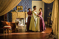 """Jannette Sepwa as Sarah, Adina Porter as Pearly Mae and Amirah Vann as Ernestine in WGN America's """"Underground."""