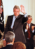 United States President Bill Clinton waves to the assembled Members of Congress and guests after he announced his plan to expand Medicare benefits at the White House in Washington, DC on 29 June, 1999.  The plan helps older Americans pay for prescription drugs - up to $1,000 per year, in return for a $24 monthly premium.<br /> Credit: Ron Sachs / CNP
