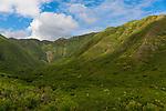 Views of the Halawa Valley from Highway 450 on the island of Molokai, Hawaii, USA