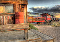 Historic narrow gauge train in Goldfield Mining and Ghost Town - Lost Dutchman - Arizona