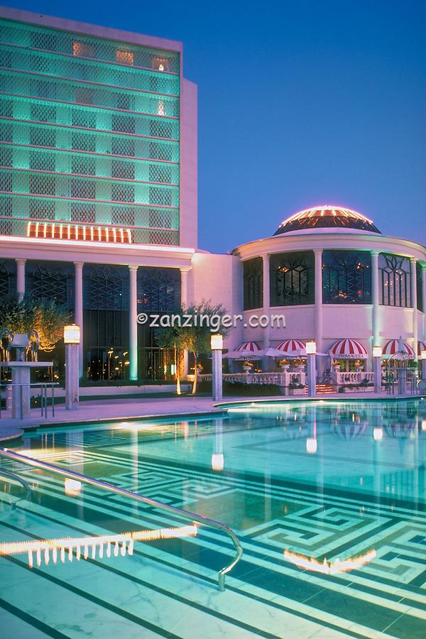 Caesars, Palace, Las Vegas, Fountain, Pool, Resort, lit at night, Casinos; Hotels; Strip; gambling; shopping, Dramatic Breathtaking Photo