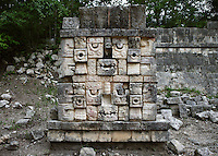 Chaac, God of the rain, Palace of the sculptured columns, East Side of the Upper Façade, 1100-1300 AD, Puuc Architecture, Chichen Itza, Yucatan, Mexico. Picture by Manuel Cohen