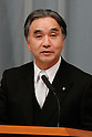 September 2, 2011, Tokyo, Japan - Tatsuo Hirano, state minister in charge of reconstruction, fields questions from reports during a news conference at Kantei, prime ministers official residence, in Tokyo following an attestation ceremony before Emperor Akihito at the Imperial Palace in Tokyo on Friday, September 2, 2011. (Photo by AFLO) [3609] -mis-
