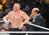 NEW YORK, NY - August 21 : Brock Lesnar battles Randy Orton at  WWE SummerSlam 2016 at the Barclays Center on August 21 , 2016 in Brooklyn, New York.  Photo Credit: John Palmer/ MediaPunch