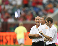 Dominic Kinnear assistant coach of the MLS All-Stars with Steve Ralston during the 2010 MLS All-Star match against Manchester United at Reliant Stadium, on July 28 2010, in Houston, Texas. Manchester United won 5-2.