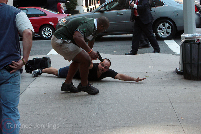 19 September 2010- New York, NY- Secret Service Police detain a unidentified male while unknown Motorcade passes through Upper East Side during President Sarkozy visit to NYC. Photo Credit: Terrence Jennings